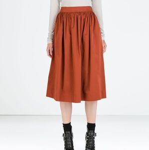 Zara Woman A Line Midi Skirt